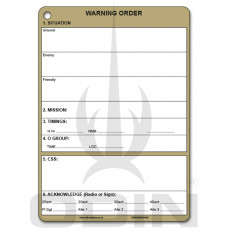 A5 Platoon Warning Order Slate Cards